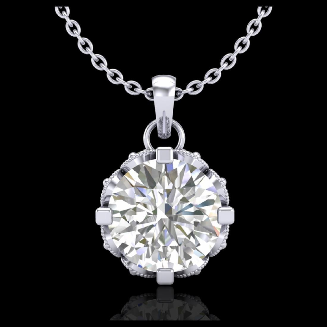 1.14 CTW VS/SI Diamond Solitaire Stud Necklace 18K Gold