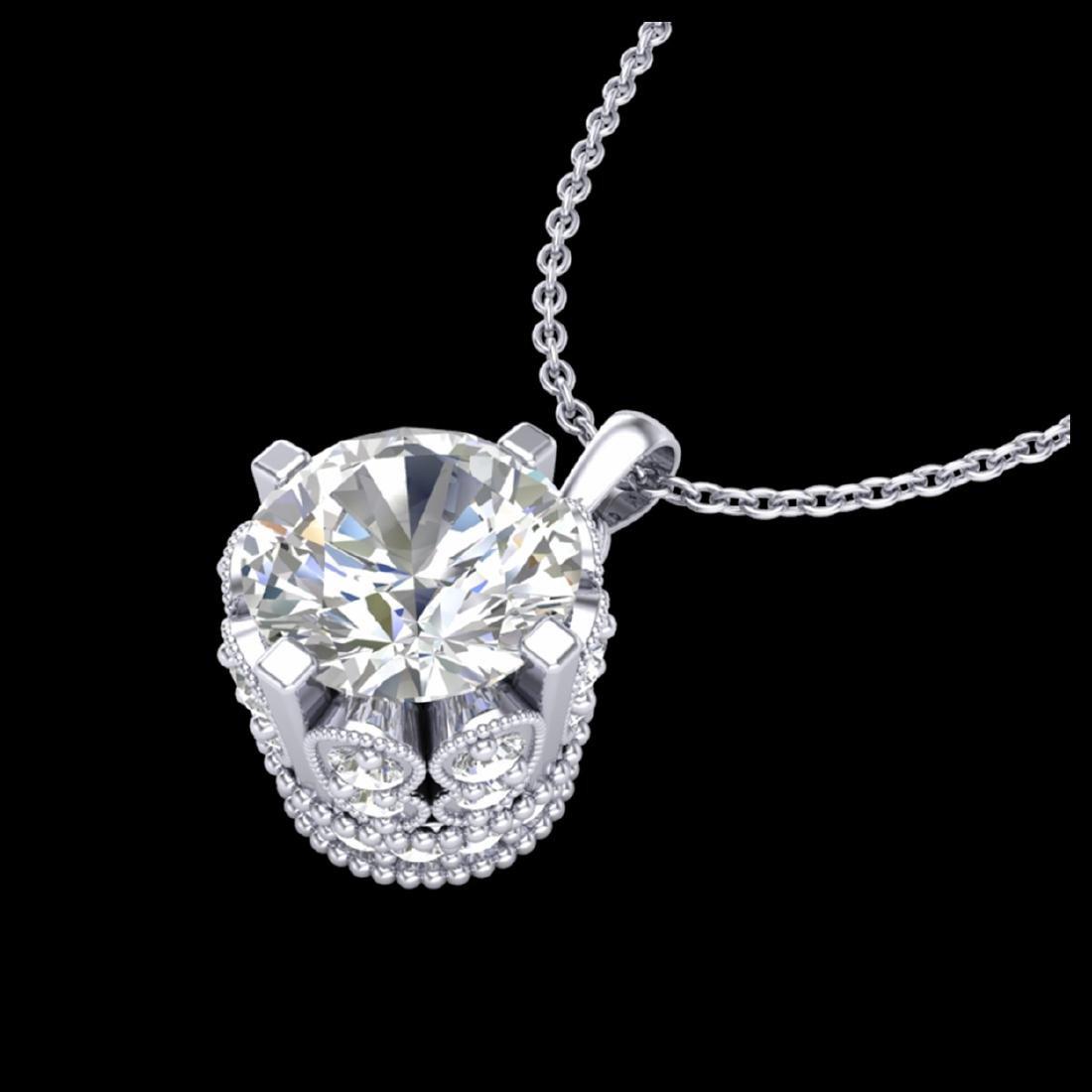 1.14 CTW VS/SI Diamond Solitaire Stud Necklace 18K Gold - 2