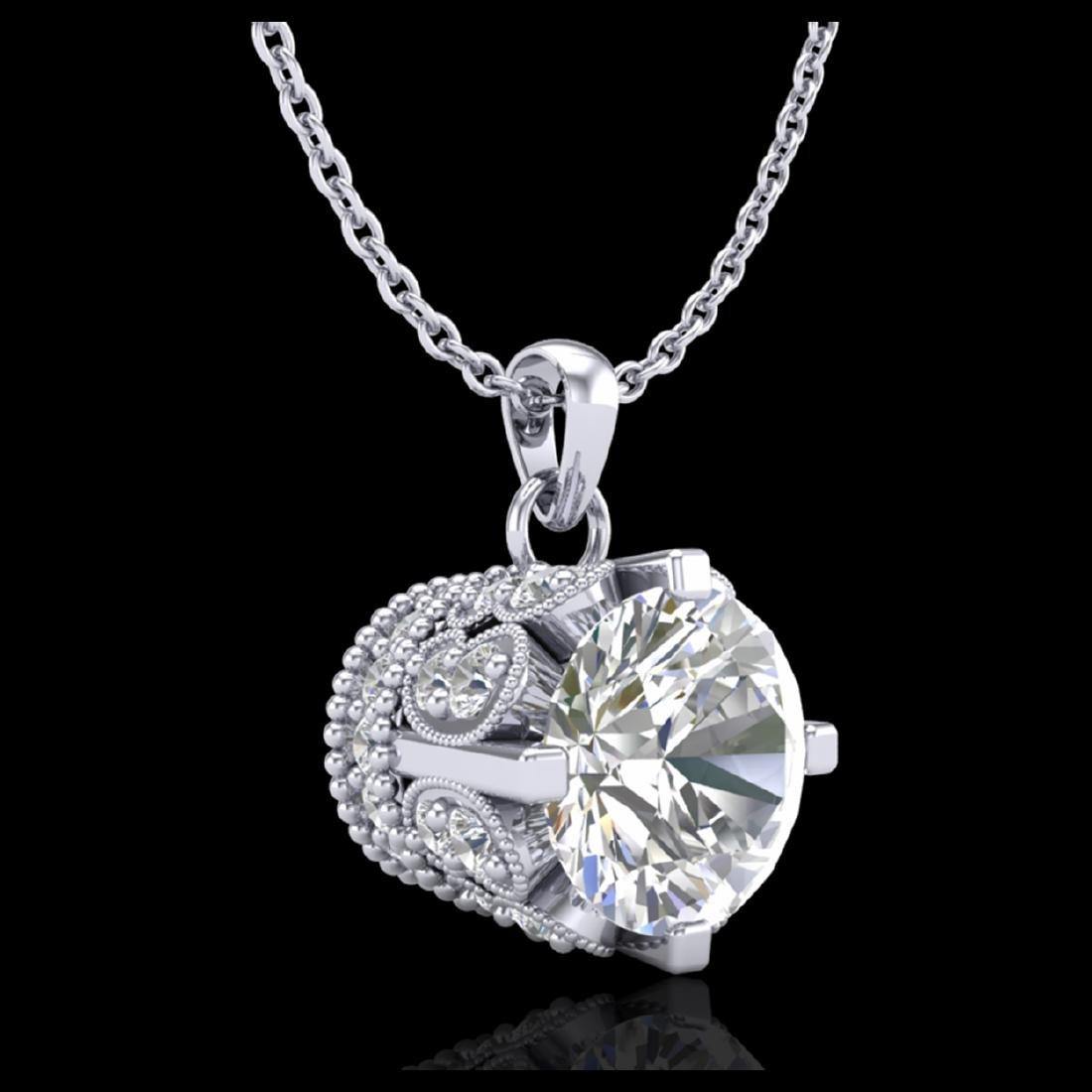 1.14 CTW VS/SI Diamond Solitaire Stud Necklace 18K Gold - 3