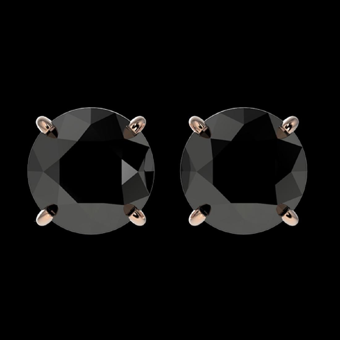 2.13 CTW Fancy Black VS Diamond Stud Earrings Gold -
