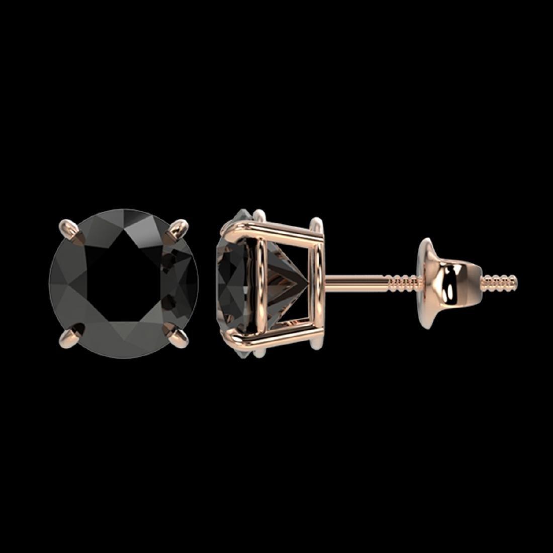 2.13 CTW Fancy Black VS Diamond Stud Earrings Gold - - 2