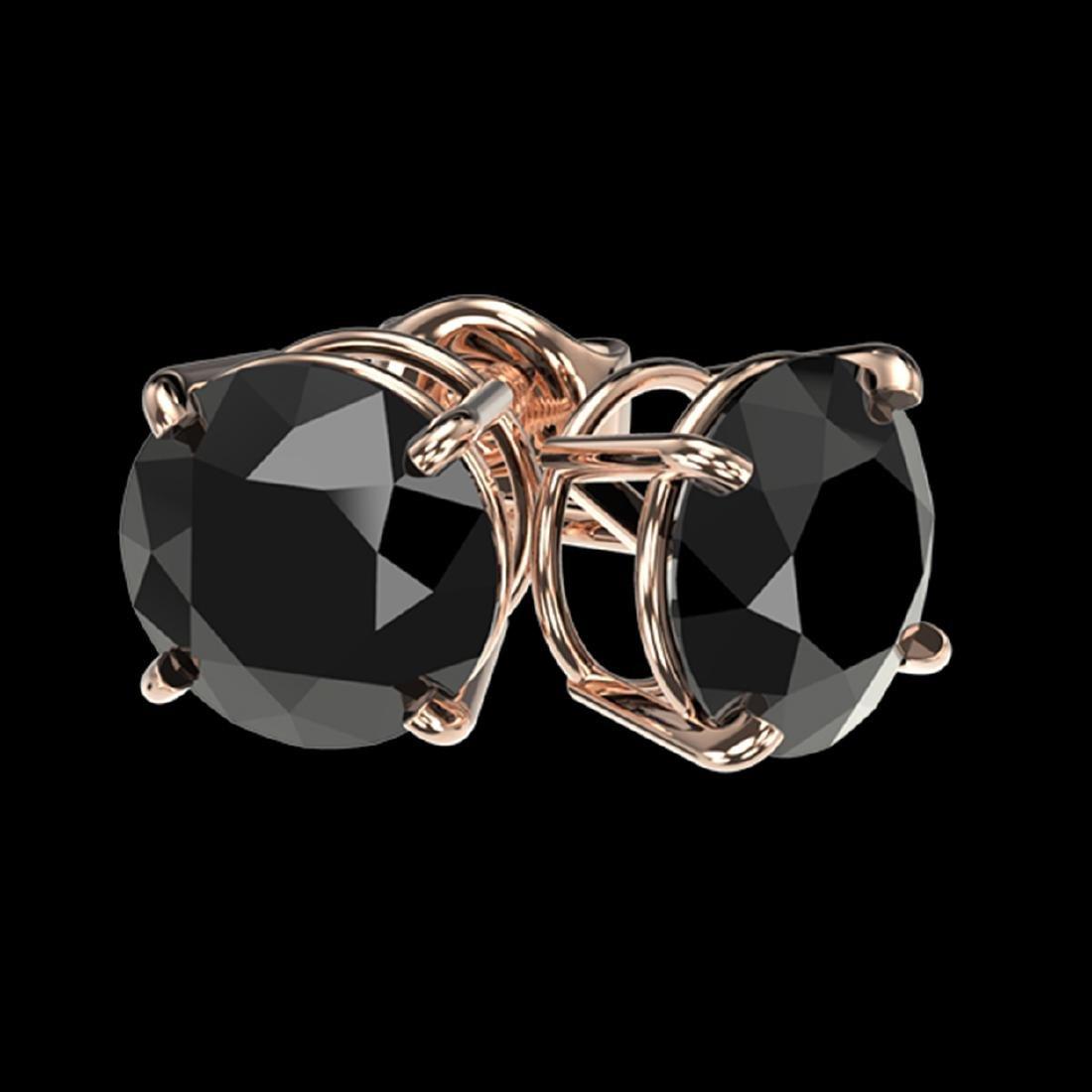 2.13 CTW Fancy Black VS Diamond Stud Earrings Gold - - 3
