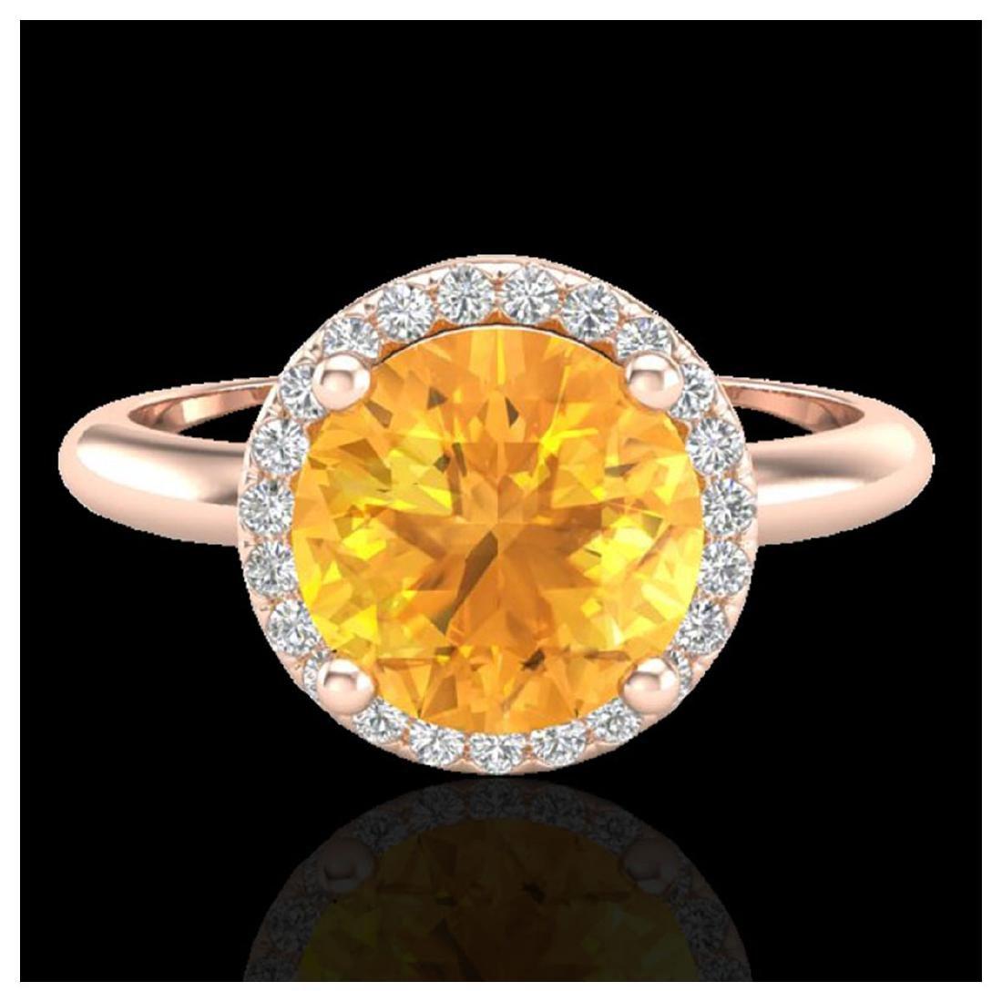 2 CTW Citrine & VS/SI Diamond Ring Halo 14K Gold -