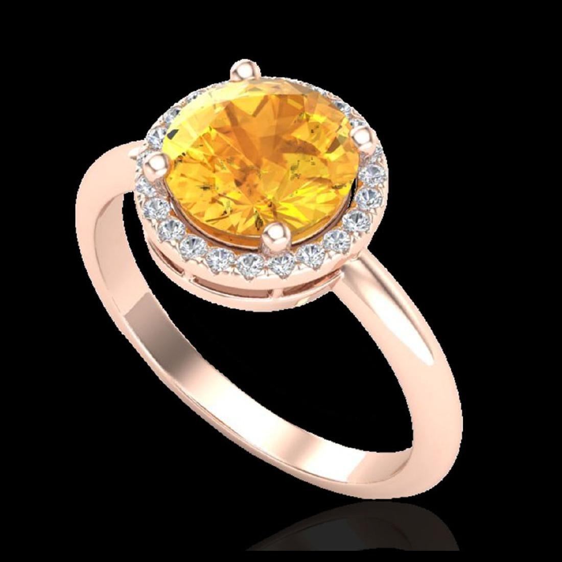 2 CTW Citrine & VS/SI Diamond Ring Halo 14K Gold - - 2