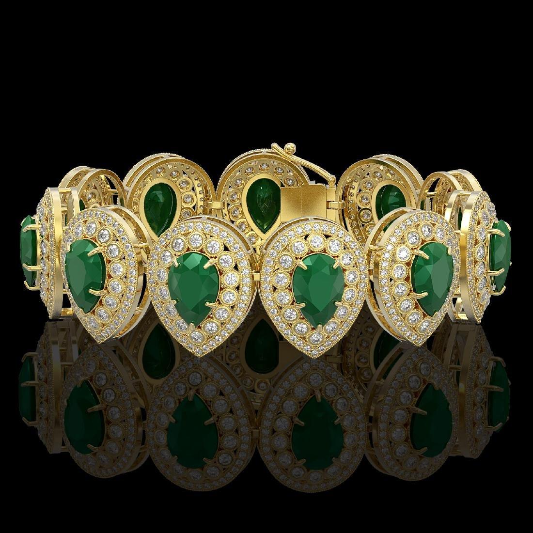 56.04 ctw Emerald & Diamond Victorian Bracelet 14K