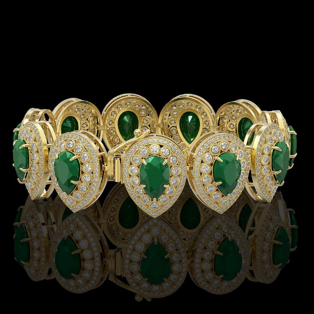 56.04 ctw Emerald & Diamond Victorian Bracelet 14K - 2