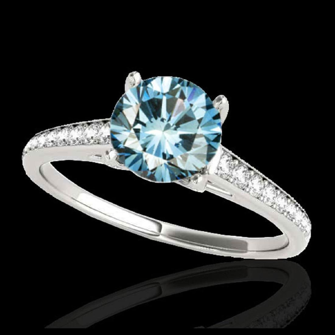 1.5 ctw SI Fancy Blue Diamond Solitaire Ring 10K White