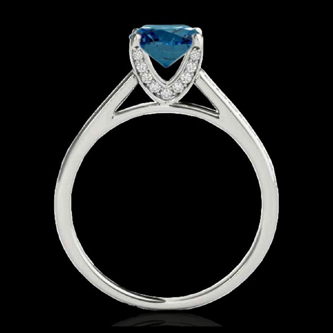 1.5 ctw SI Fancy Blue Diamond Solitaire Ring 10K White - 2