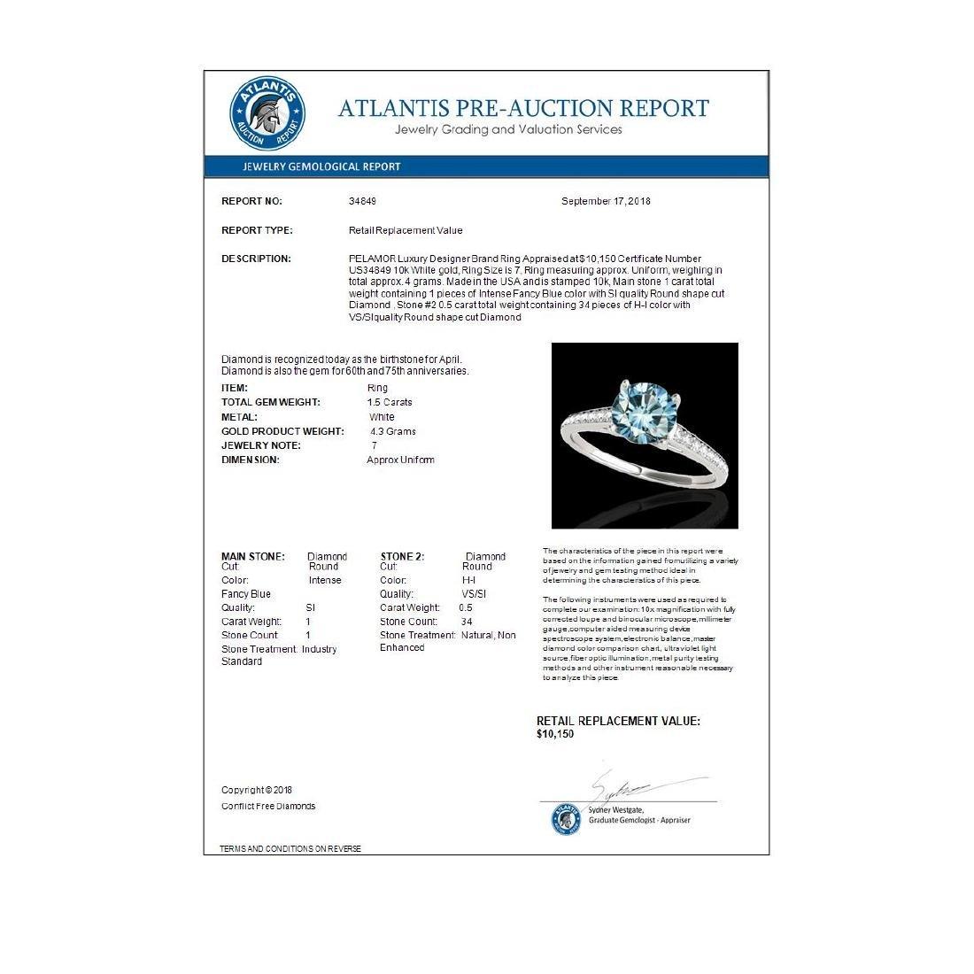 1.5 ctw SI Fancy Blue Diamond Solitaire Ring 10K White - 3