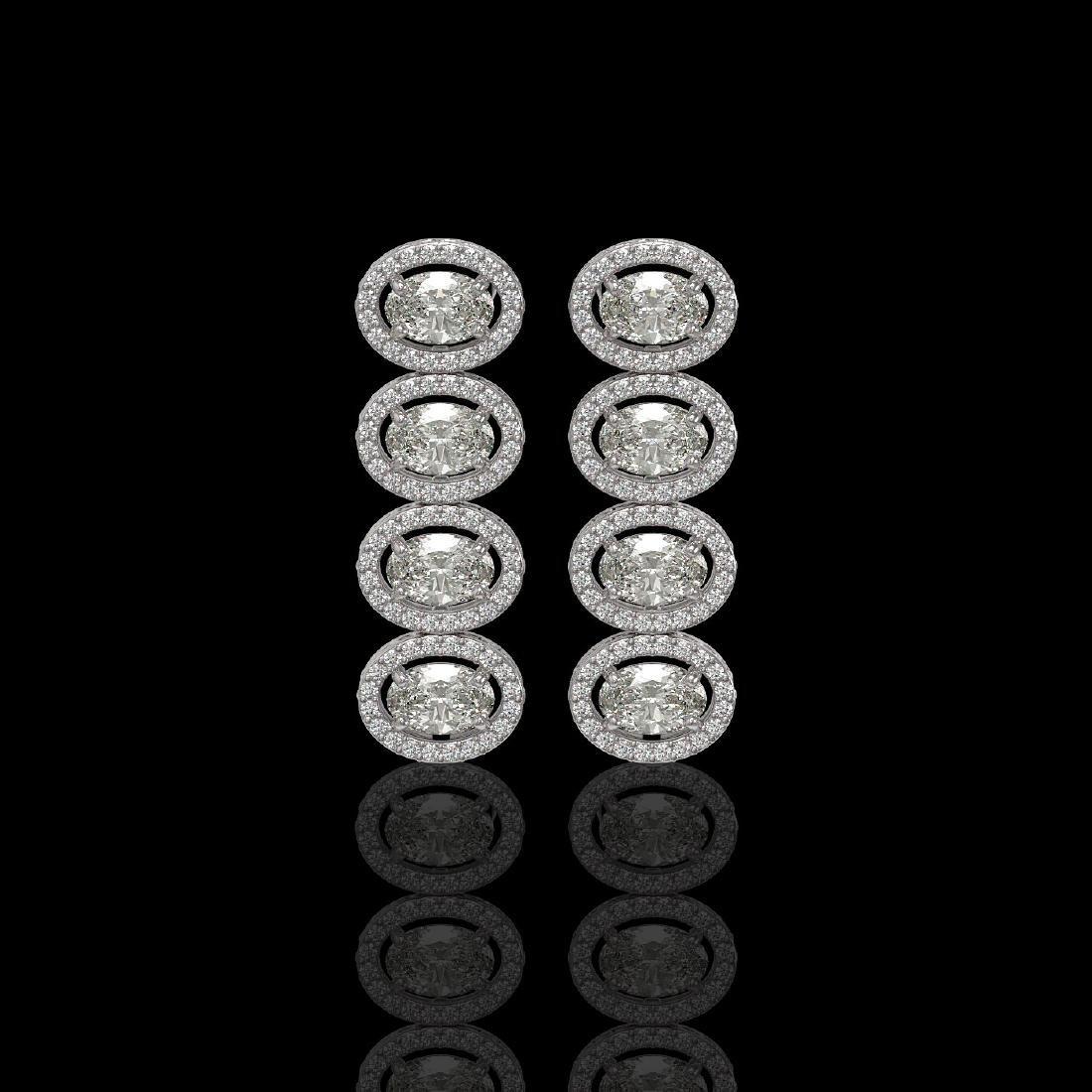 5.33 ctw Oval Diamond Designer Earrings 18K White Gold