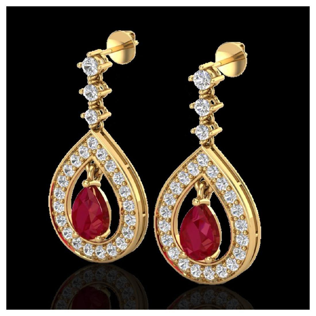2.25 ctw Ruby & VS/SI Diamond Earrings 14K Yellow Gold