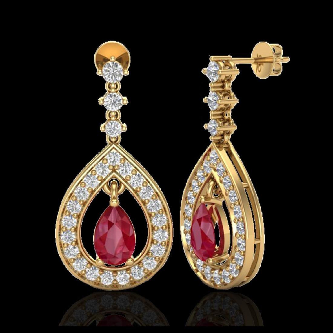 2.25 ctw Ruby & VS/SI Diamond Earrings 14K Yellow Gold - 2