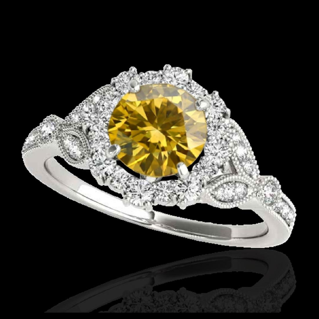1.5 ctw SI/I Fancy Intense Yellow Diamond Ring 10K