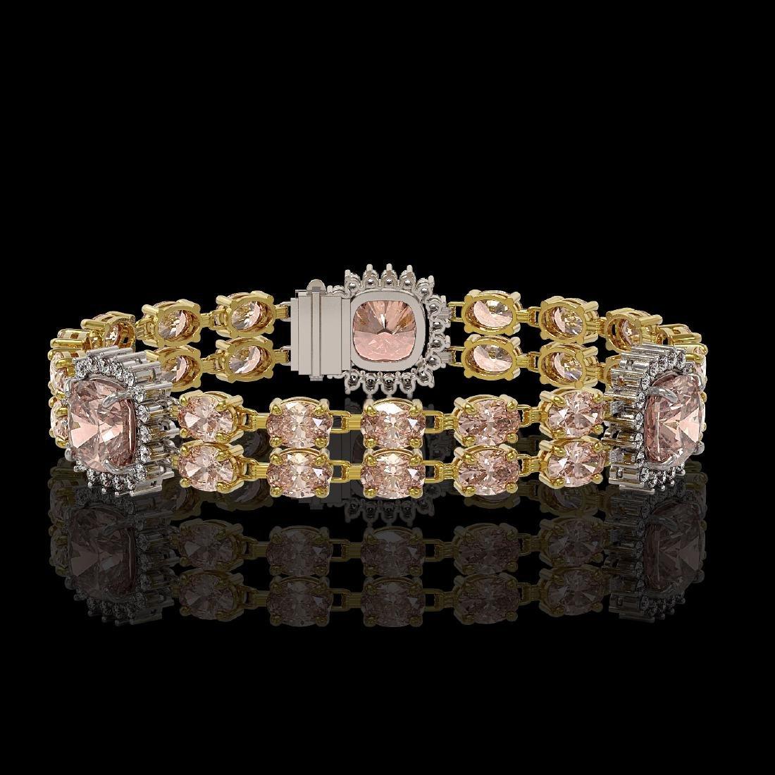 18.59 ctw Morganite & Diamond Bracelet 14K Yellow Gold