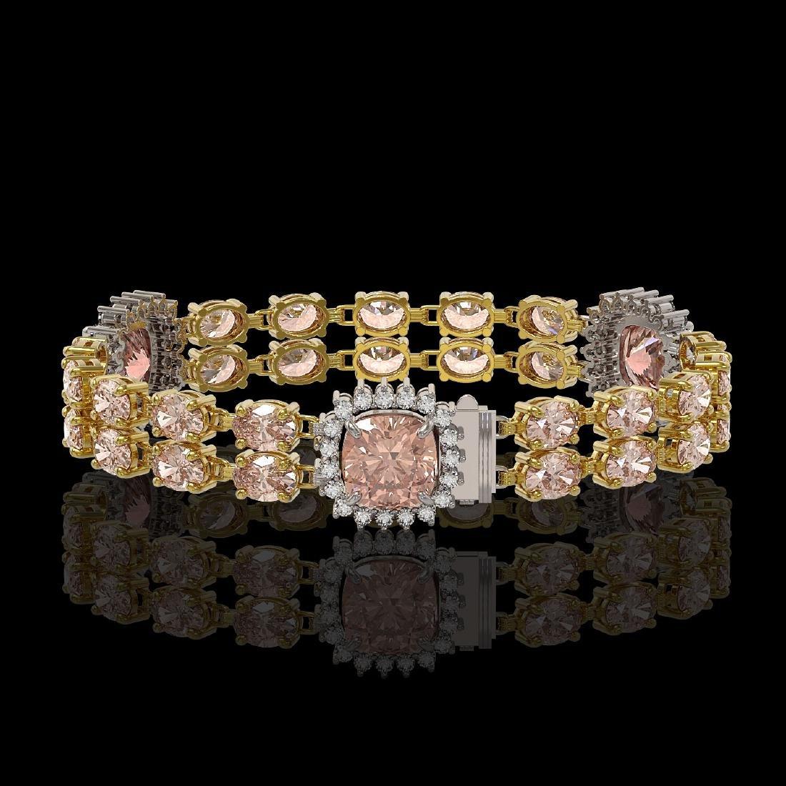 18.59 ctw Morganite & Diamond Bracelet 14K Yellow Gold - 2
