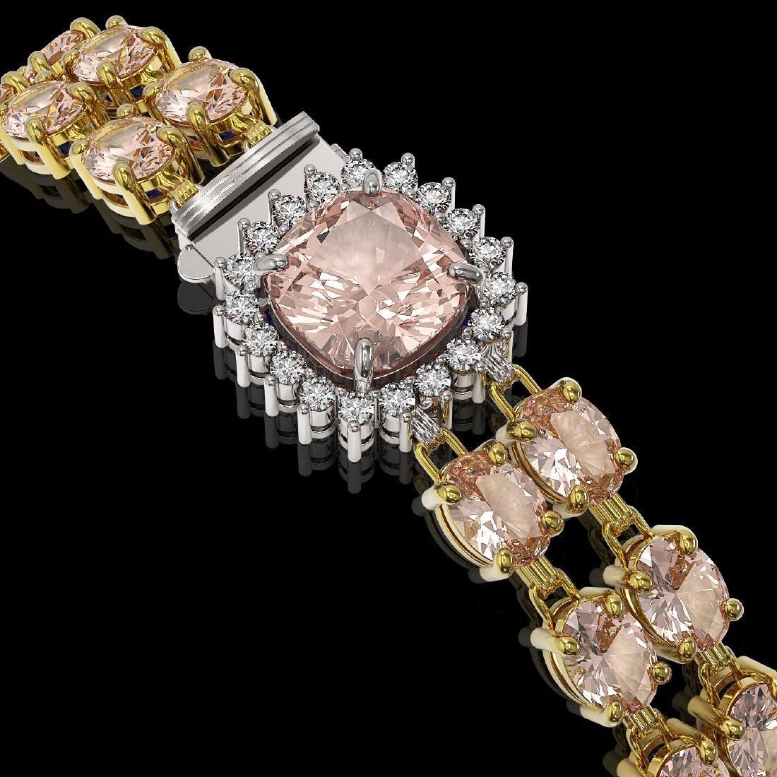 18.59 ctw Morganite & Diamond Bracelet 14K Yellow Gold - 3