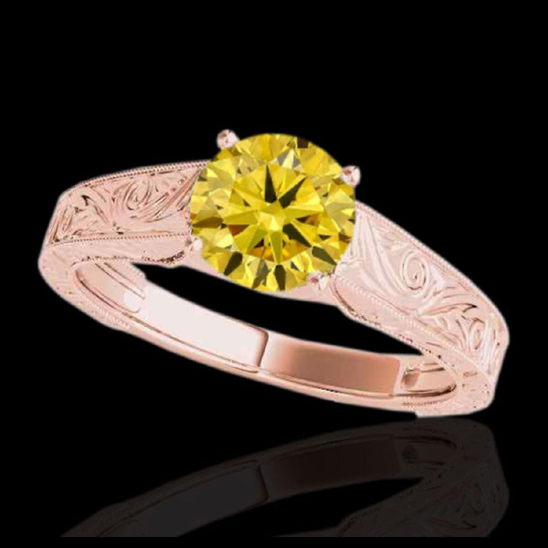 1.5 ctw SI/I Fancy Intense Yellow Diamond Ring 10K Rose