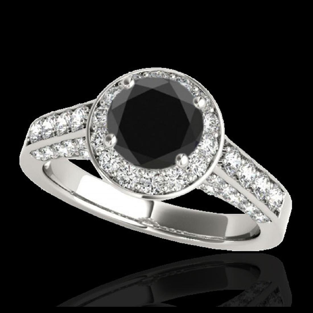 2.56 ctw VS Black Diamond Solitaire Halo Ring 10K White