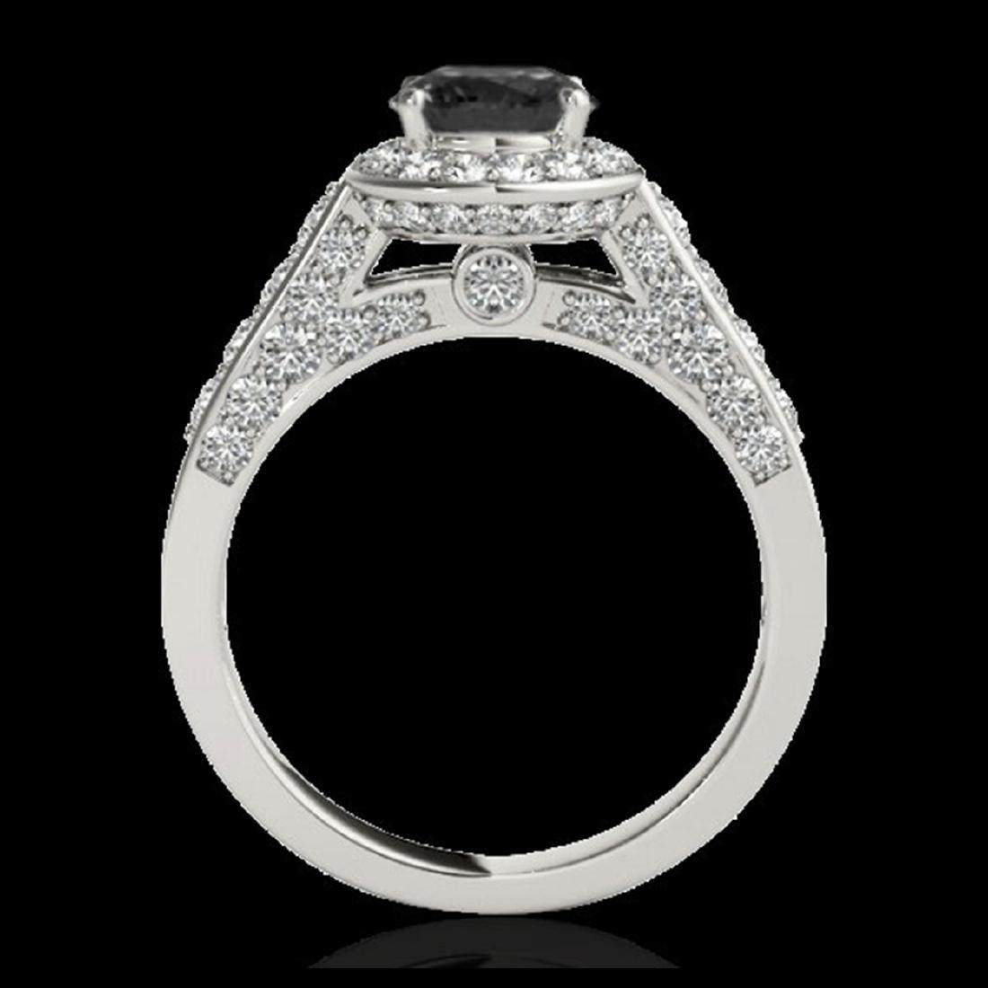 2.56 ctw VS Black Diamond Solitaire Halo Ring 10K White - 2