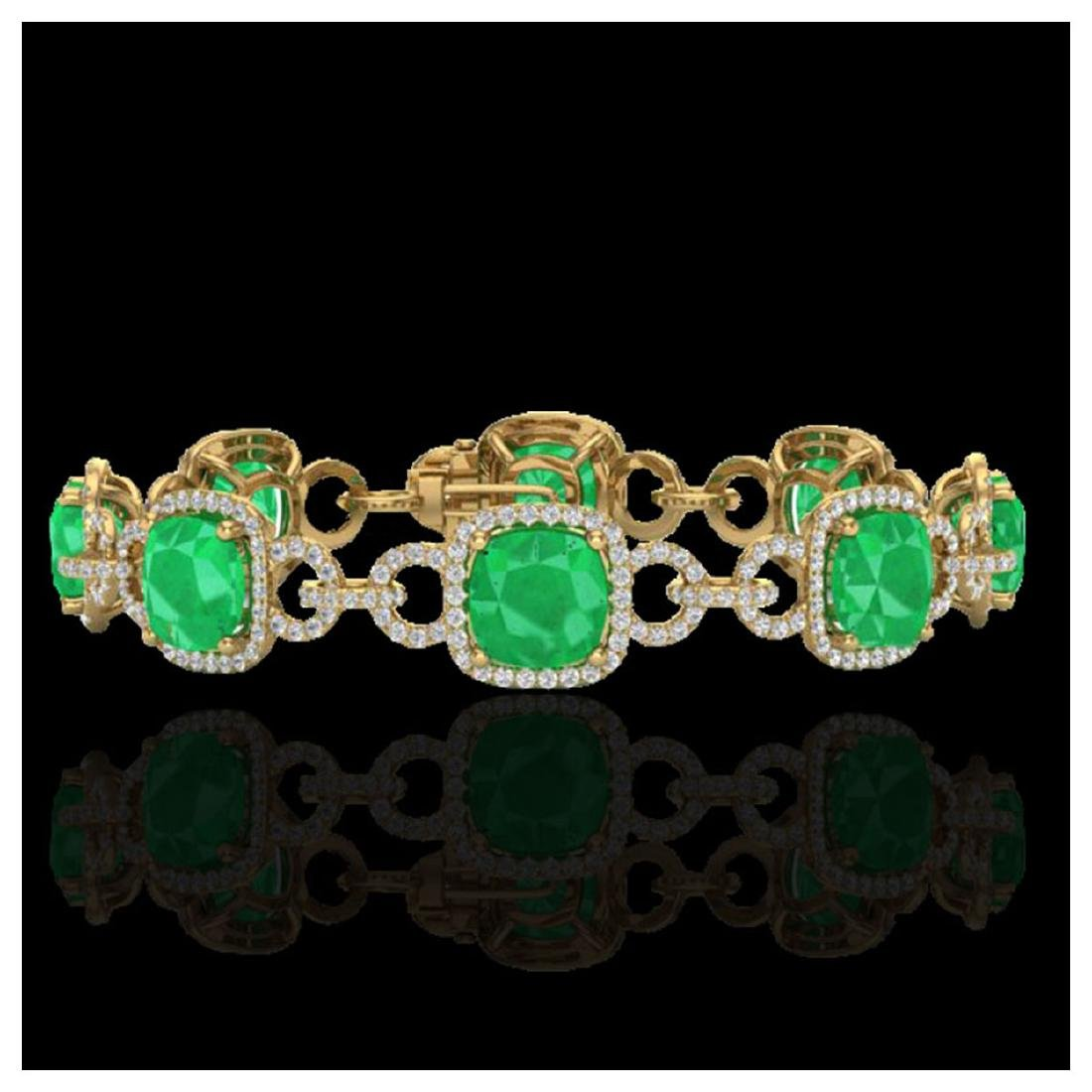 25 ctw Emerald & VS/SI Diamond Bracelet 14K Yellow Gold