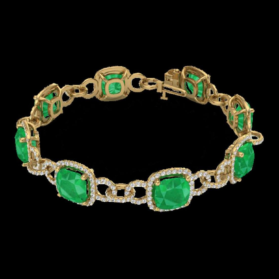 25 ctw Emerald & VS/SI Diamond Bracelet 14K Yellow Gold - 2