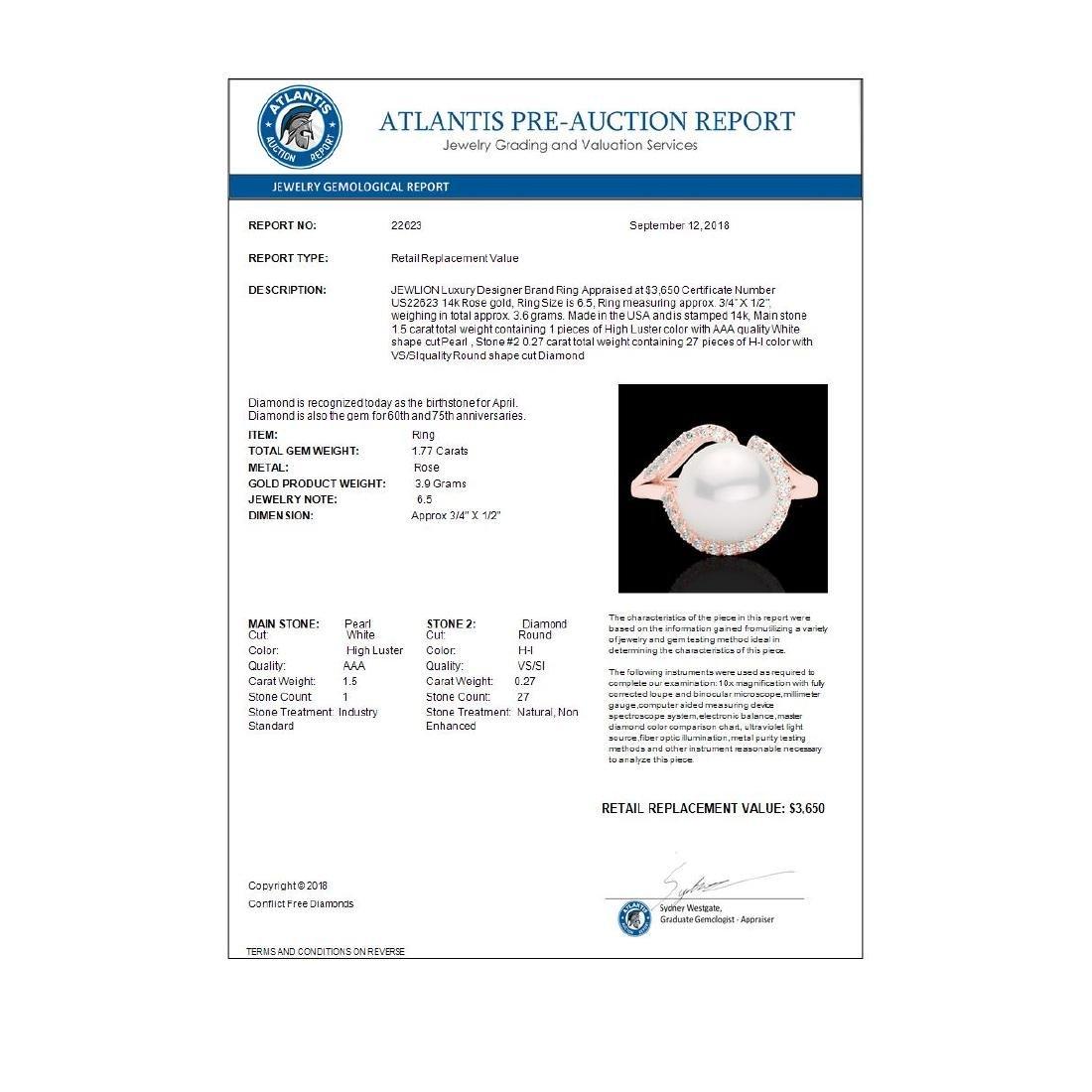 0.27 ctw VS/SI Diamond & White Pearl Ring 14K Rose Gold - 3