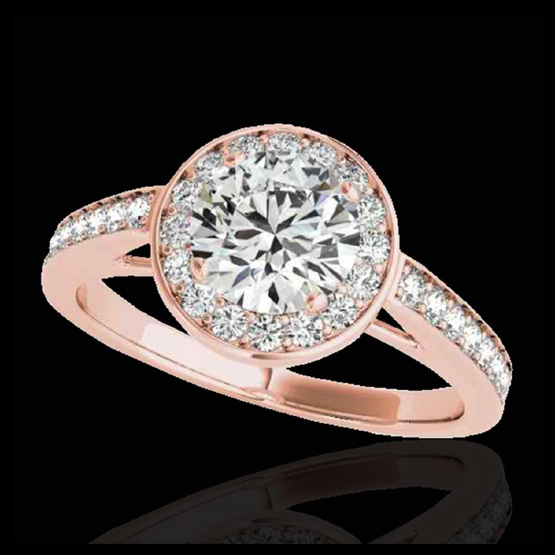 1.45 ctw H-SI/I Diamond Solitaire Halo Ring 10K Rose