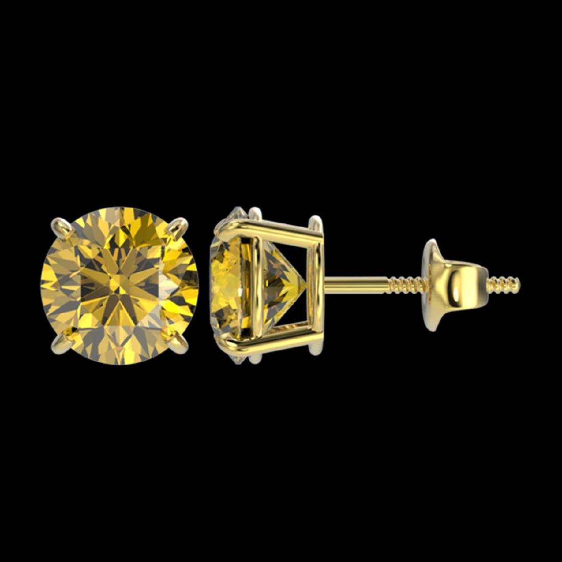 2.57 ctw Intense Yellow SI Diamond Stud Earrings 10K - 2