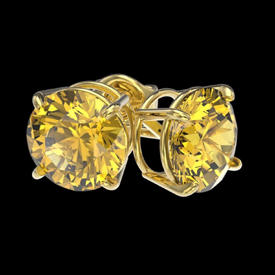 2.57 ctw Intense Yellow SI Diamond Stud Earrings 10K - 3