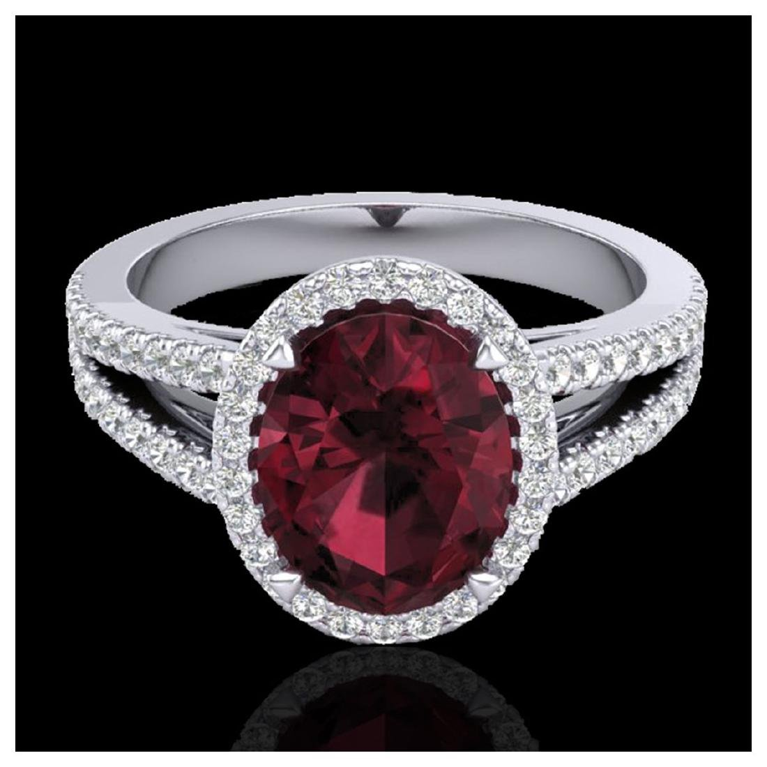 3 ctw Garnet & Micro VS/SI Diamond Halo Ring 18K White