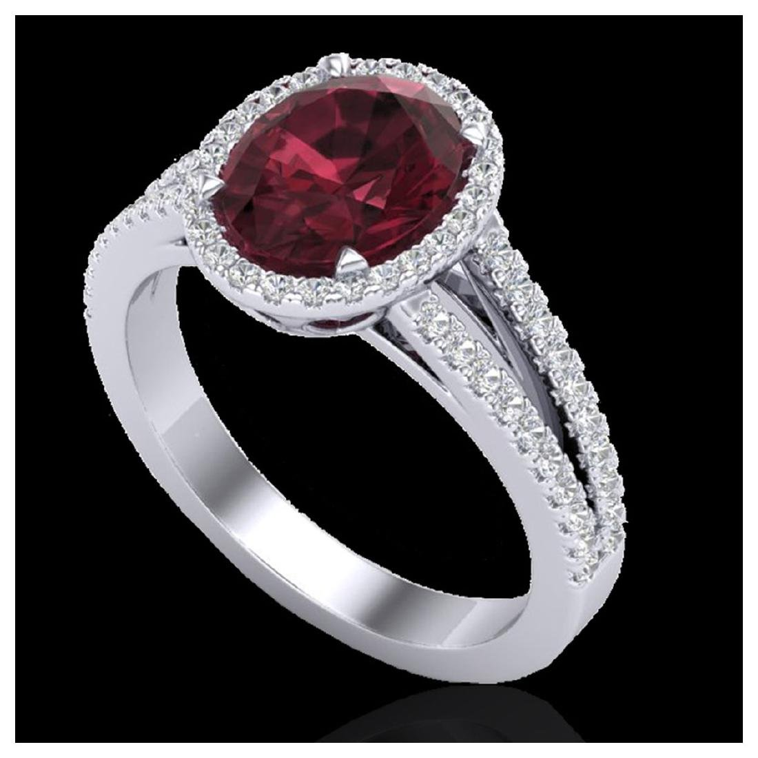 3 ctw Garnet & Micro VS/SI Diamond Halo Ring 18K White - 2