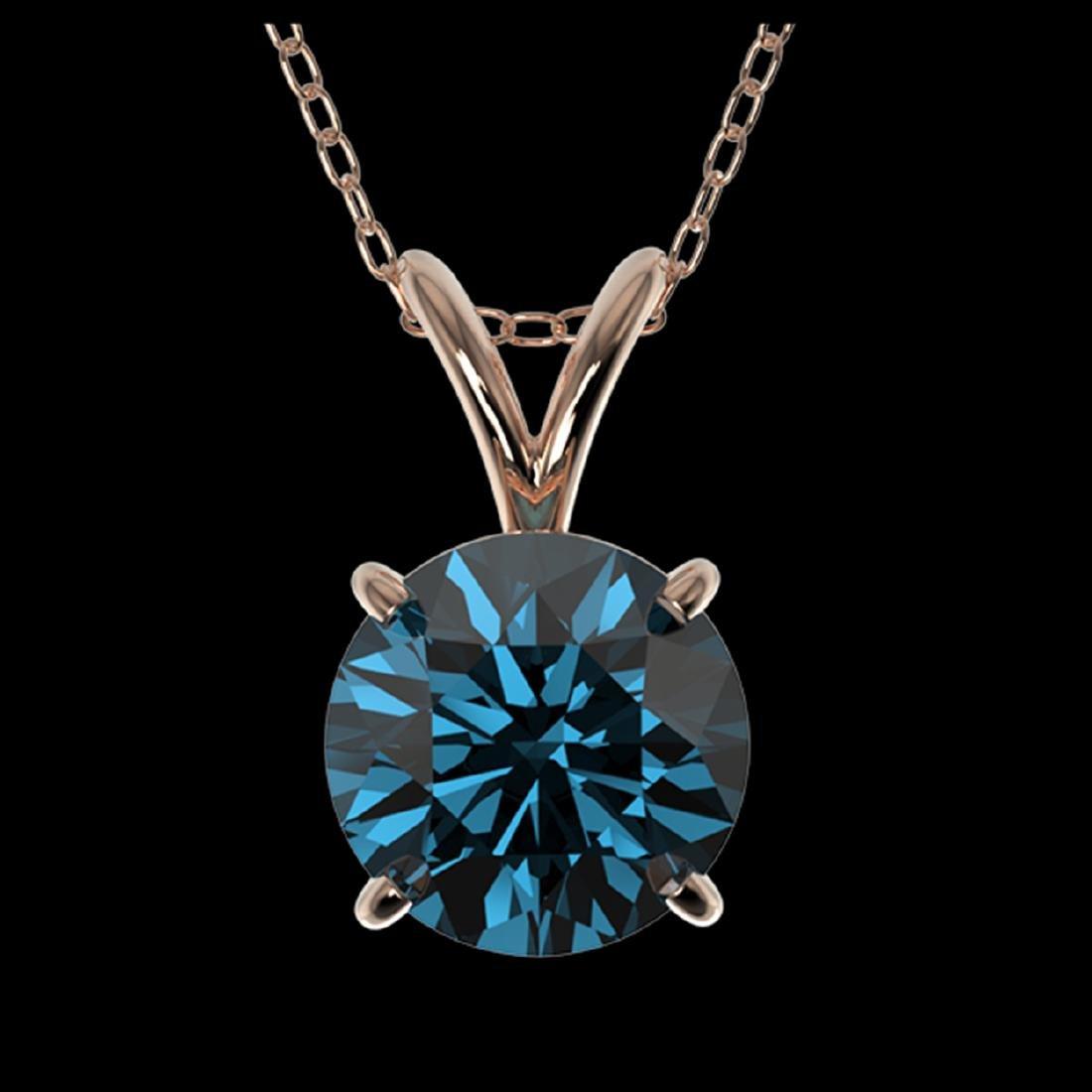 1.19 ctw Intense Blue SI Diamond Necklace 10K Rose Gold