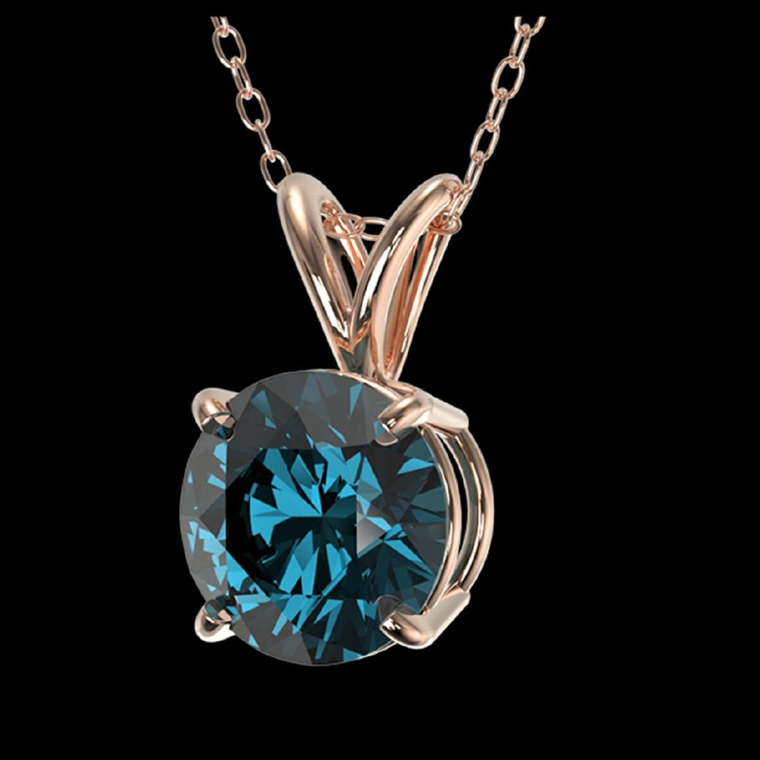 1.19 ctw Intense Blue SI Diamond Necklace 10K Rose Gold - 2