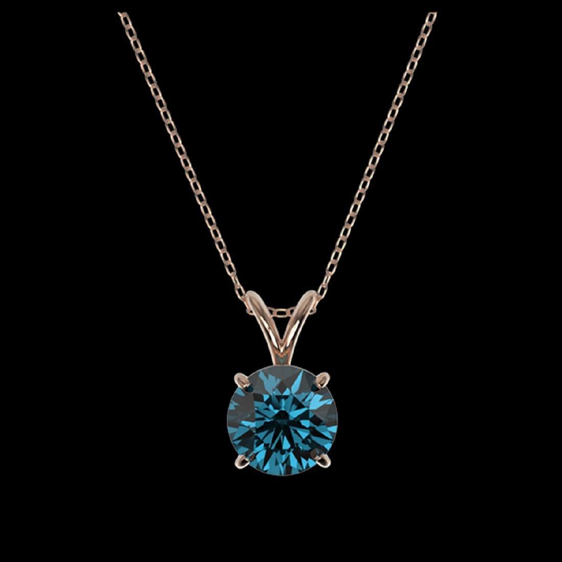 1.19 ctw Intense Blue SI Diamond Necklace 10K Rose Gold - 3