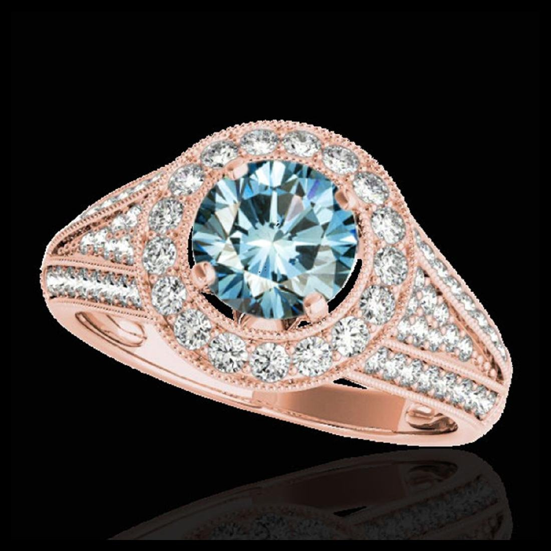 2.17 ctw SI Fancy Blue Diamond Halo Ring 10K Rose Gold