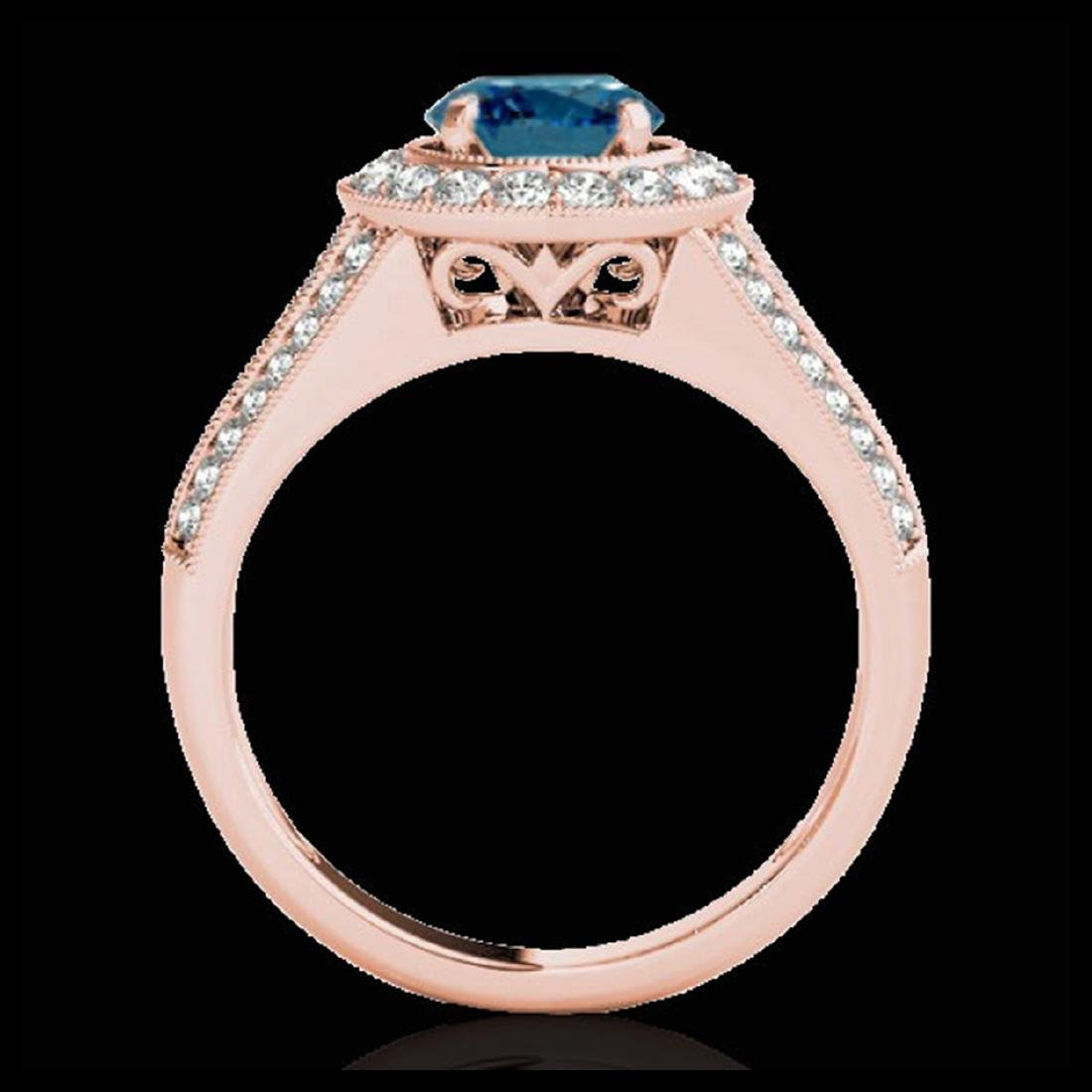2.17 ctw SI Fancy Blue Diamond Halo Ring 10K Rose Gold - 2