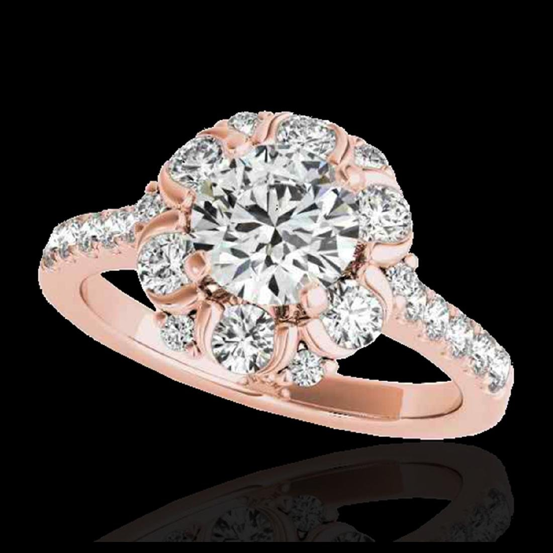2.05 ctw H-SI/I Diamond Solitaire Halo Ring 10K Rose
