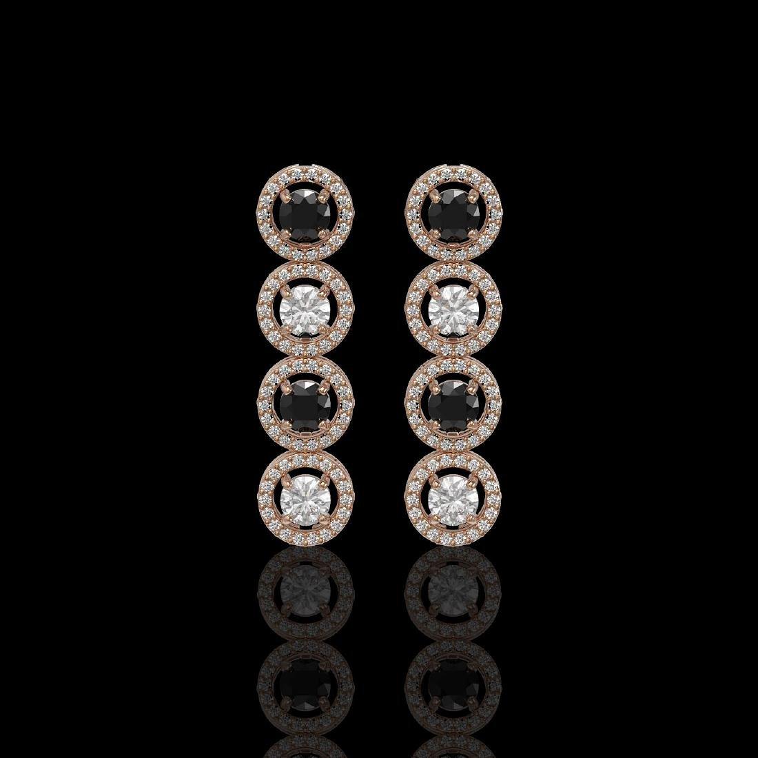 3.84 ctw Black & Diamond Designer Earrings 18K Rose