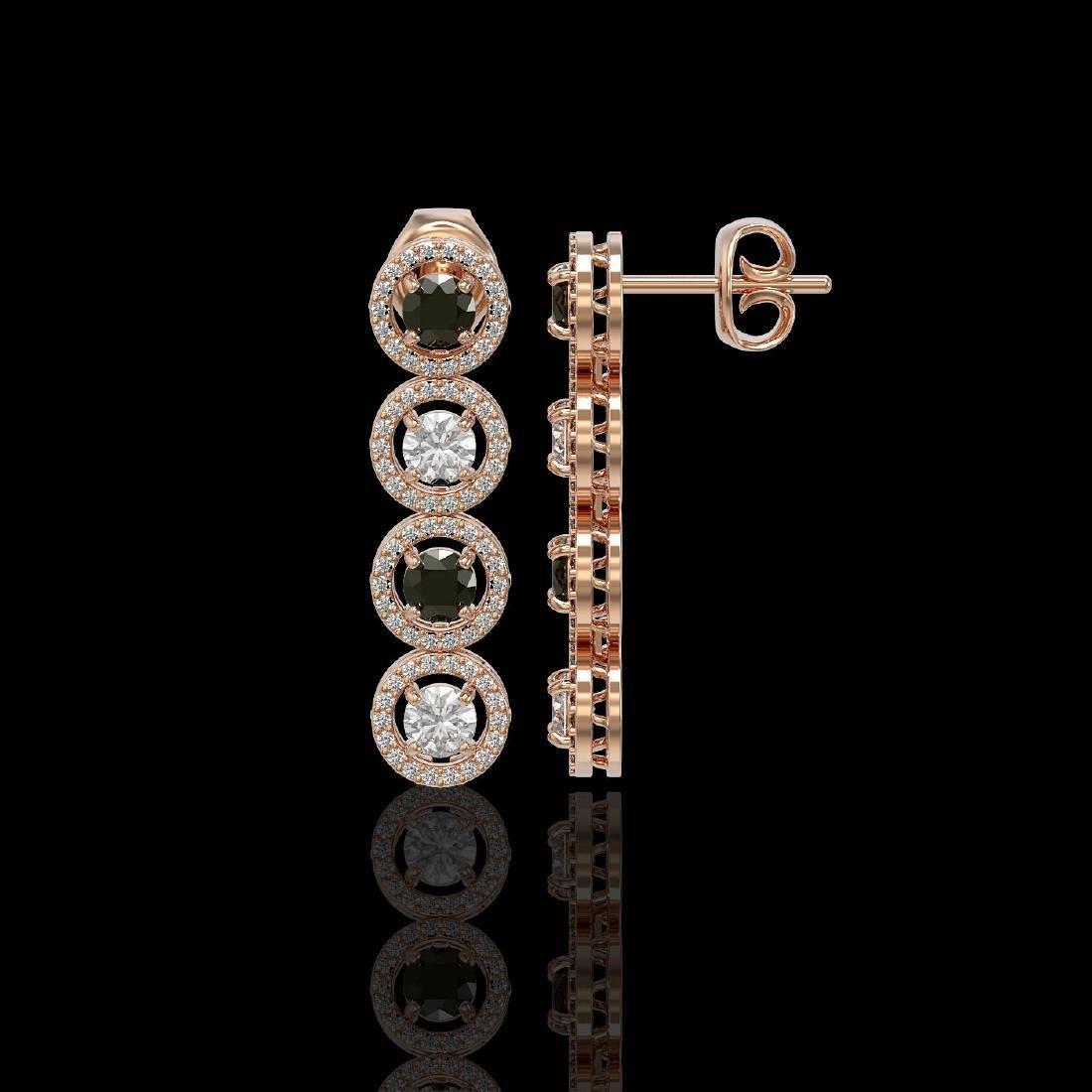3.84 ctw Black & Diamond Designer Earrings 18K Rose - 2