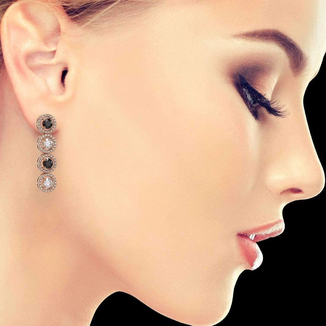 3.84 ctw Black & Diamond Designer Earrings 18K Rose - 3