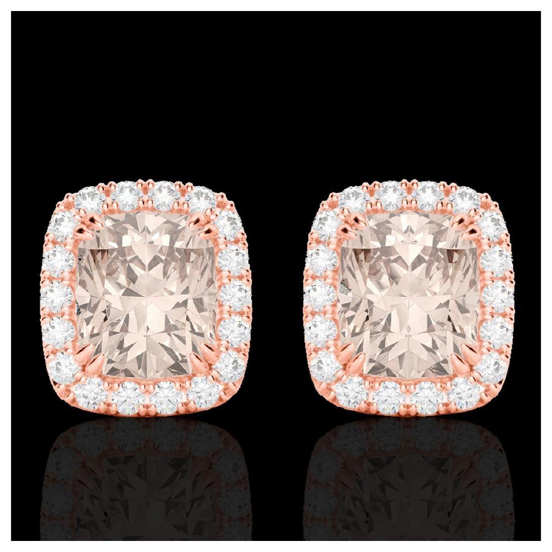 2.50 ctw Morganite & VS/SI Diamond Earrings 10K Rose