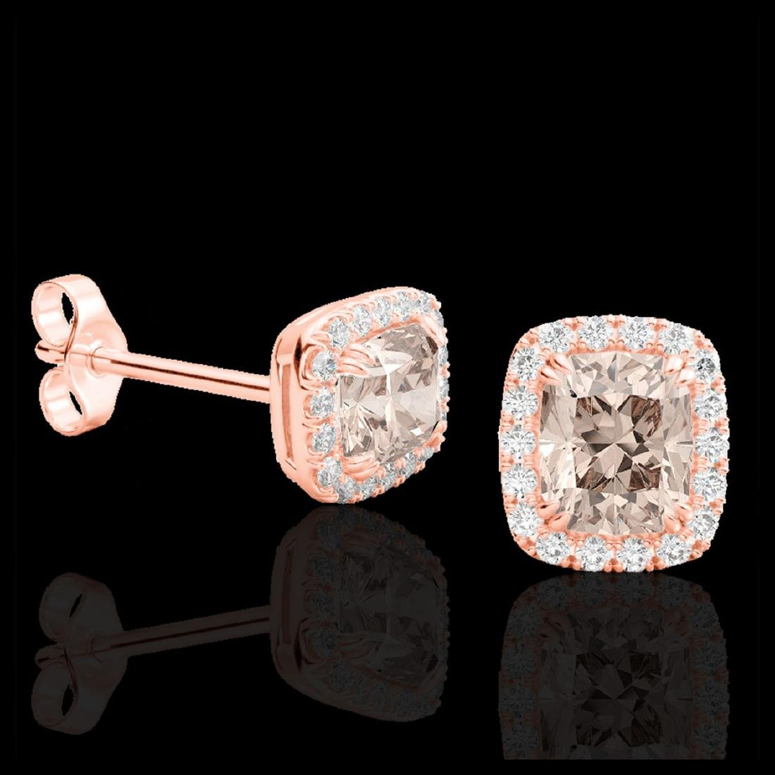 2.50 ctw Morganite & VS/SI Diamond Earrings 10K Rose - 2