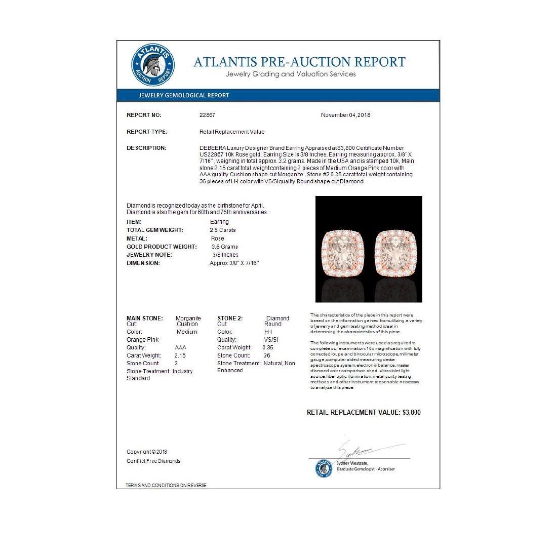 2.50 ctw Morganite & VS/SI Diamond Earrings 10K Rose - 3