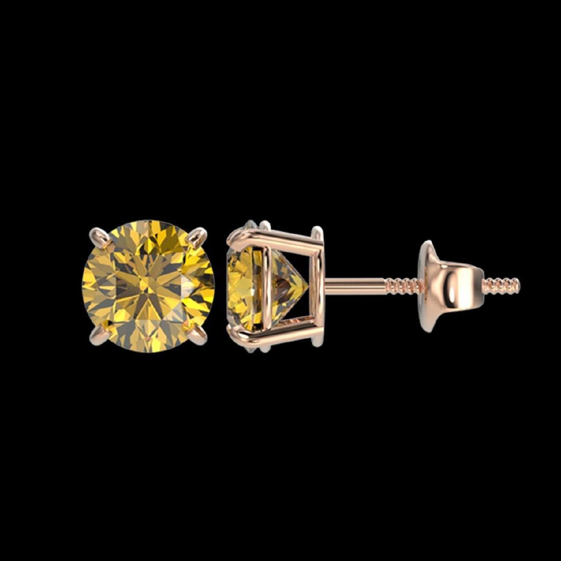1.54 ctw Intense Yellow Diamond Stud Earrings 10K Rose - 2