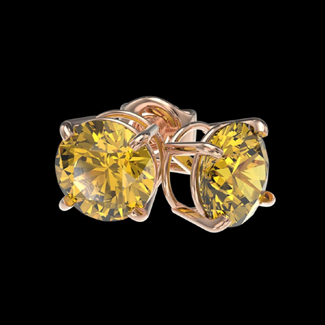 1.54 ctw Intense Yellow Diamond Stud Earrings 10K Rose - 3