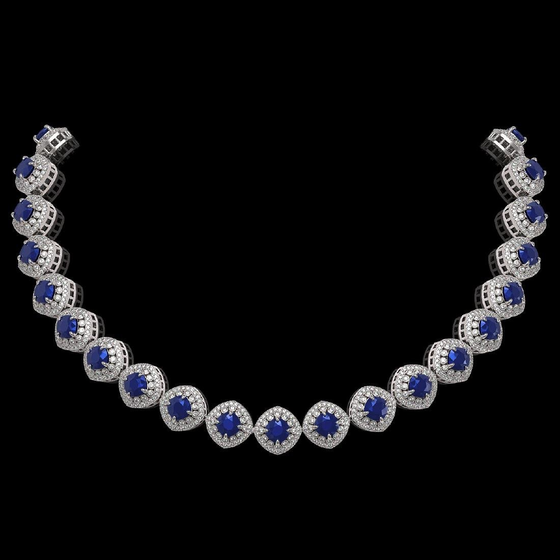 82.17 ctw Sapphire & Diamond Necklace 14K White Gold -
