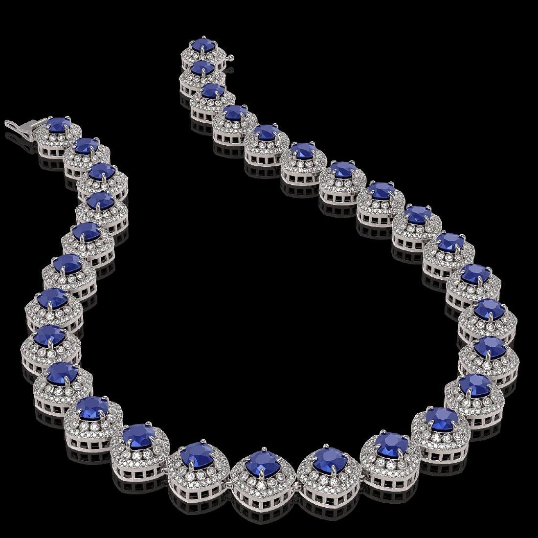 82.17 ctw Sapphire & Diamond Necklace 14K White Gold - - 2