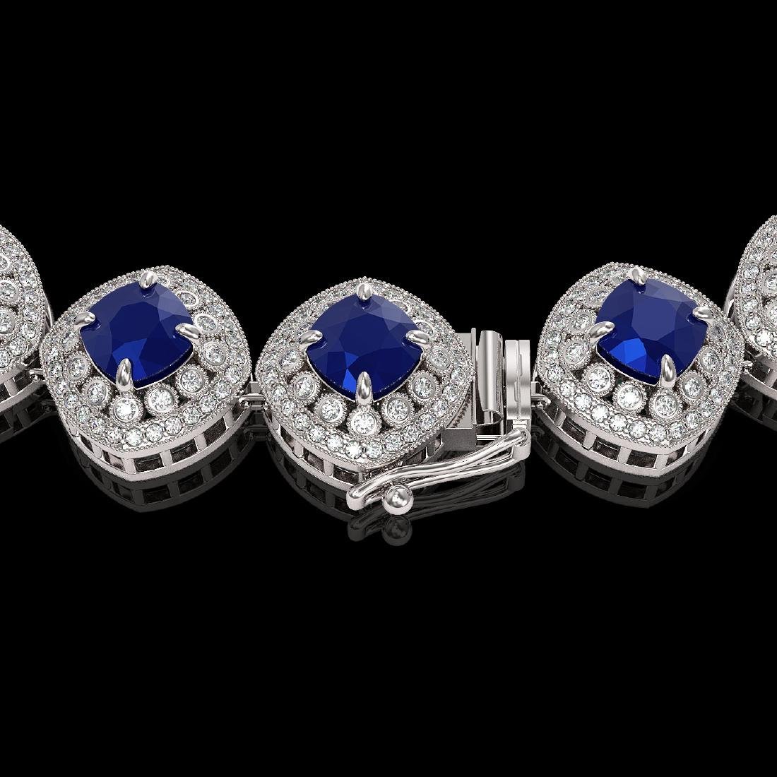 82.17 ctw Sapphire & Diamond Necklace 14K White Gold - - 3