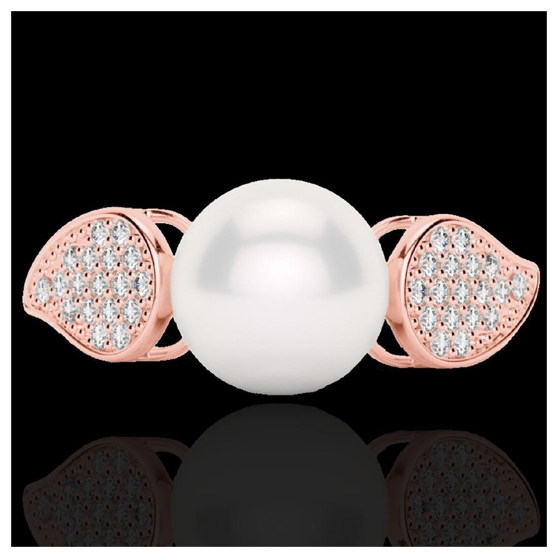 0.27 ctw VS/SI Diamond & Pearl Ring 14K Rose Gold -