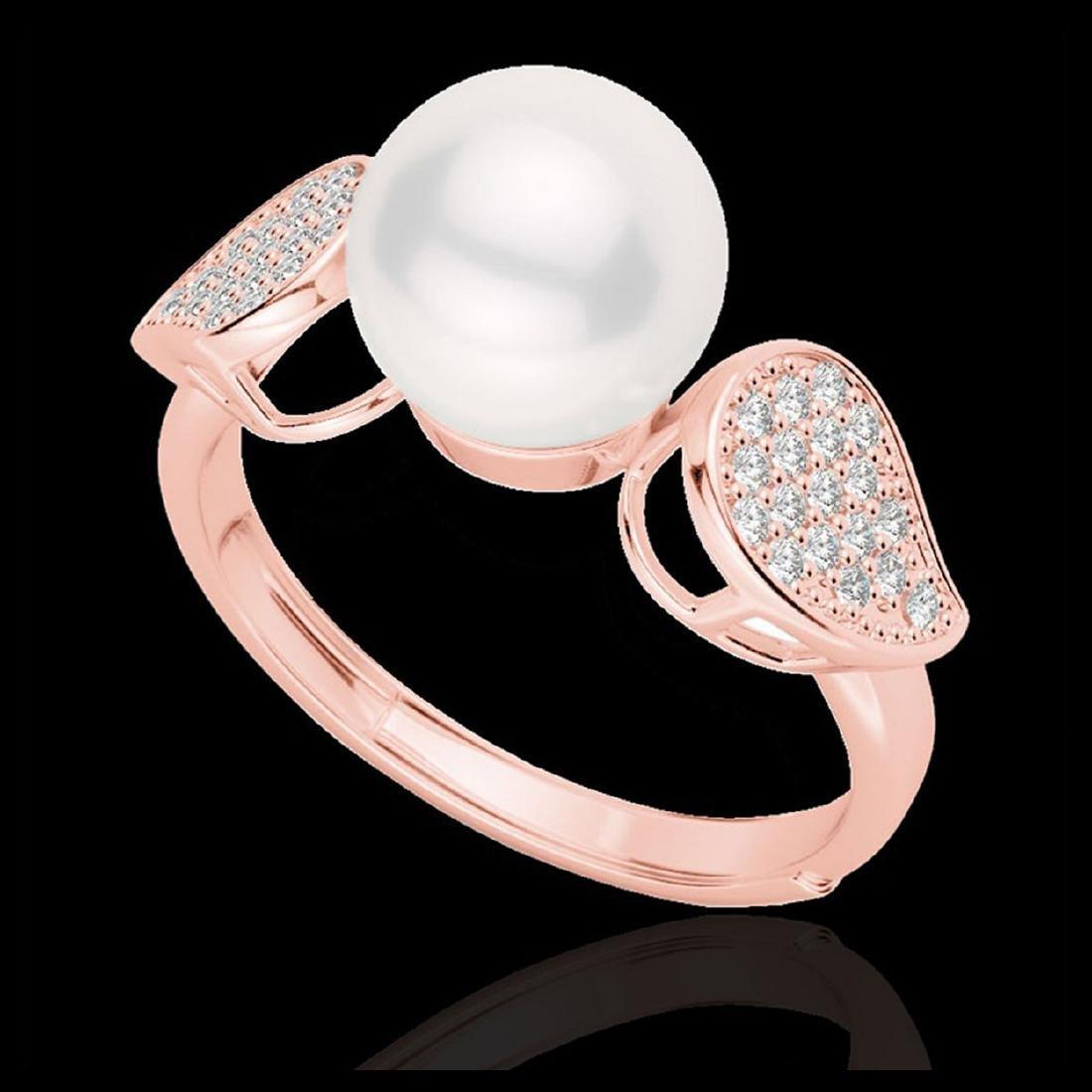 0.27 ctw VS/SI Diamond & Pearl Ring 14K Rose Gold - - 2